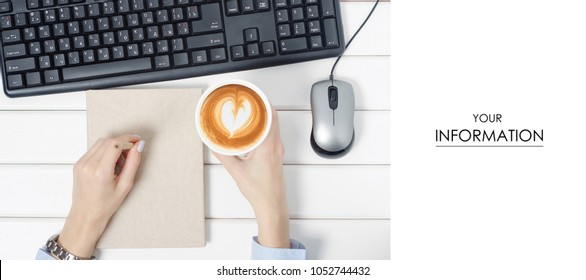 Female hands keyboard mouse from computer notebook pen cup of coffee pattern on white wooden background isolation