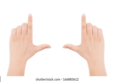 Female hands making frame gesture, isolated on white background