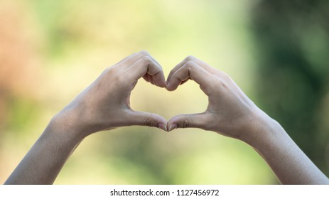 Female hands making a heart shape on natural green background.