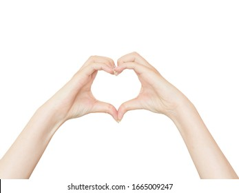 Female hands making a heart shape isolated on a white background