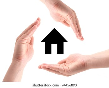 Female hands making a shape for protection