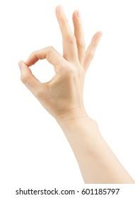 Female hands making sign Okay