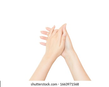 Female hands manicured on a white background.