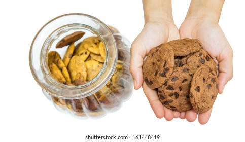 Female hands offering cookies over white background