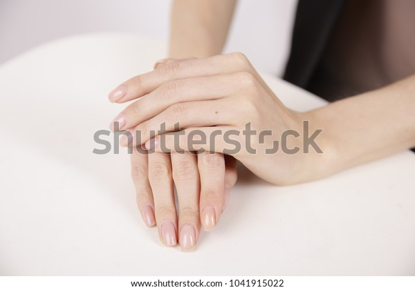 Female Hands On Table Two Hands Stock Photo (Edit Now