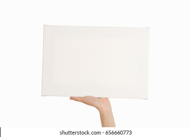 Female hands on a white background. poster.