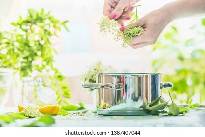 Female hands prepare elderflowers on table with cooking pot, lemon and sugar. Homemade elderflower syrup or jam making. Copy space for your recipes. Healthy seasonal natural food