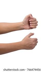 female hands pulling something