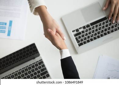 Female hands shaking at meeting making partnership deal, businesswomen handshaking as concept of respect, successful teamwork, collaboration and support, women power in business, top close up view