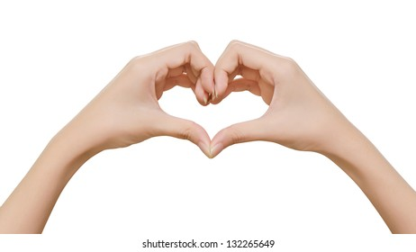 Female hands shaping a heart symbol on white background Stock Photo: