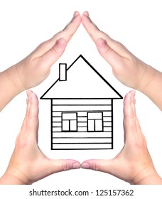 Female hands showing home sign isolated on white and sketch house in background - Family future house concept