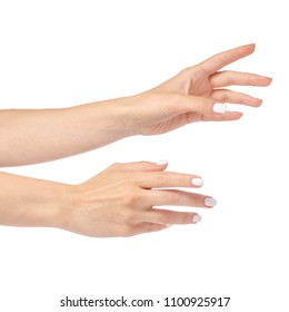 Female hands showing reaching out on a white background isolated