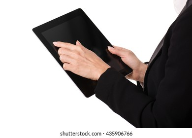 Female hands with tablet, isolated on white