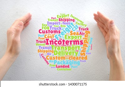 Female hands and word cloud with logistics, transportation, import / export terms, incoterms.