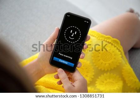 Female Hands Yellow Dress Holding Phone Stock Photo (Edit
