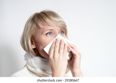 female having a cold. Isolated