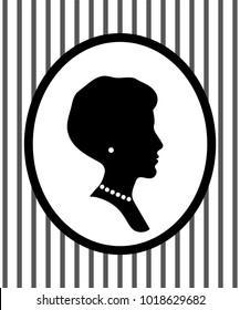 Female head portrait in a frame on the wall with jewelry profile silhouette, vector illustration