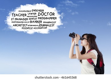 Female high school student using binoculars to see the future jobs on the speech bubble