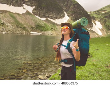 Female hiker in the mountains