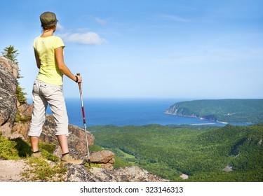 Female hiker on Franey Mountain, Nova Scotia, Canada