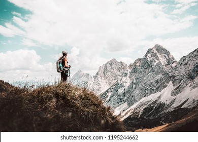 Female hiker on the top of mountain