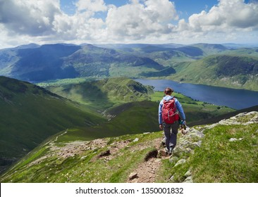 A female hiker and their dog descending from Grasmoor down Lad Hows above Buttermere on a sunny day in the English Lake District, UK.