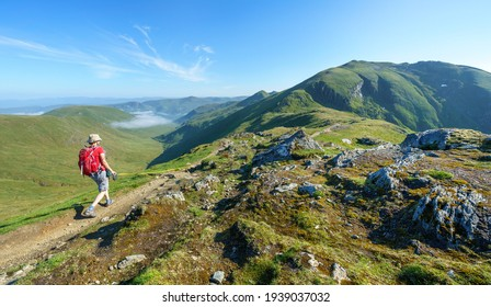 A female hiker and their dog walking, hiking along a mountain path towards the summit of Ben Lawers from the top of Beinn Ghlas in the Scottish Highlands, UK landscape.