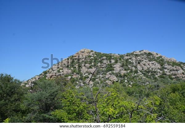 Female Hill in rainy season, Tsodilo Hills, UNESCO World Heritage Site, Botswana, Africa