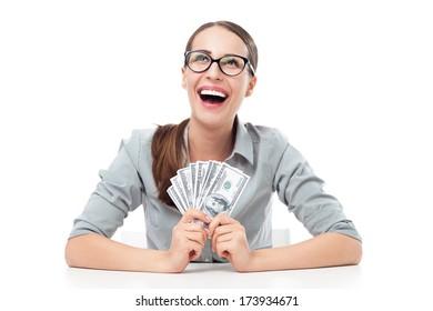 Female holding a fan of money