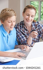 Female Home Tutor Helping Boy With Studies Using Laptop Computer
