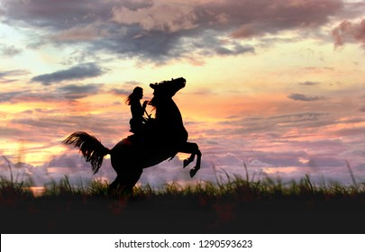 female and horse silhouette before storm