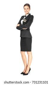 Female hotel receptionist in uniform on white background