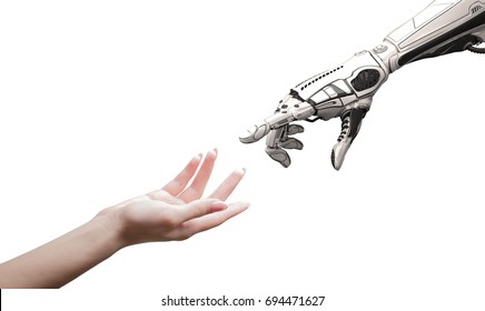 Female human hand and robot's as a symbol of connection between people and artificial intelligence technology isolated on white for design