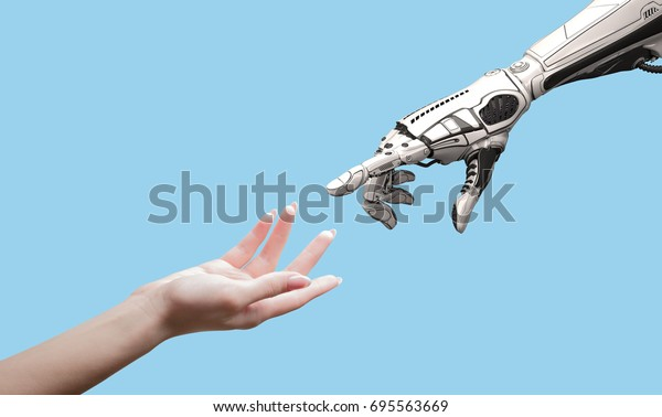 Female human hand and robot's as a symbol of connection between people and artificial intelligence technology isolated on blue for design.