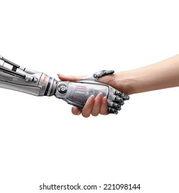 female human and robot's handshake as a symbol of connection between people and artificial intillegence. Isolated image