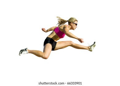 Female hurdler jumps, isolated against a white background.