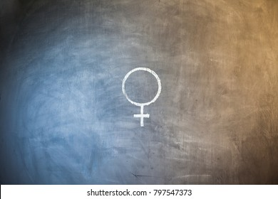 Female Icon Illustration. Flat symbol. Imitation draw with white chalk on green chalkboard. Pictogram and School board background