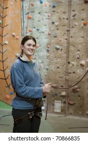 Female at indoor climbing wall