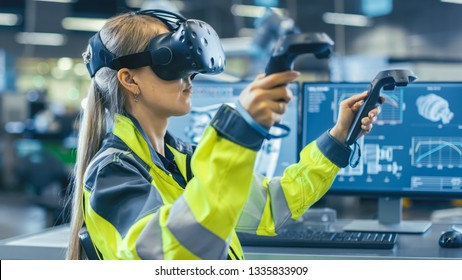 Female Industrial Engineer Wearing Virtual Reality Headset and Holding Controllers, She Uses VR technology for Industrial Design, Development and Prototyping in CAD Software.