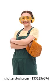 Female industrial worker in uniform on white background. Safety equipment