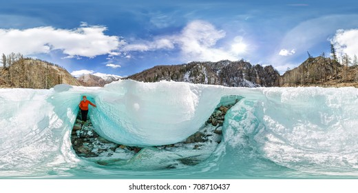 Female inside the crack in the ice glaciers Iceland. Spherical 360 180 vr panoramas.