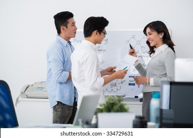 Female interpreter explaining business strategy to her colleagues