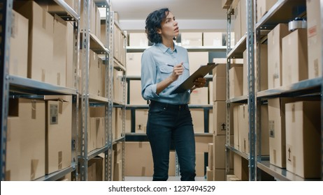 Female Inventory Manager Checks Stock, Writing in the Clipboard. Beautiful Woman Working in a Warehouse Storeroom with Rows of Shelves Full Of Cardboard Boxes, Parcels, Packages Ready for Shipment.