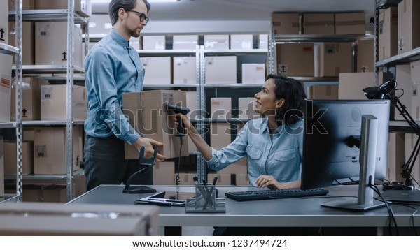 Female Inventory Manager Scans Cardboard Box Stock Photo