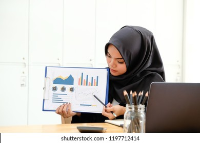 Female Islam businesswoman present finance report.