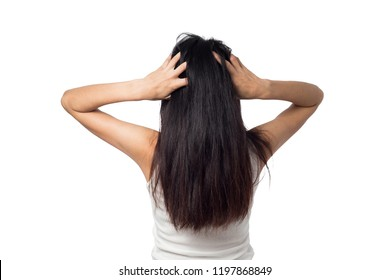 female itching scalp itchy his hair on a white background