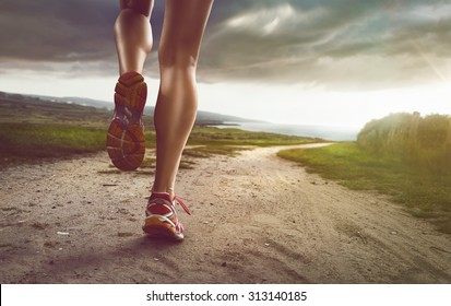 Female Jogger on coastal path