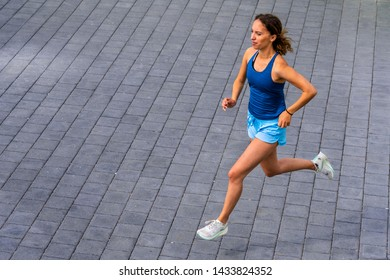 female jogger in a view from above