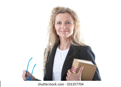 Female lawyer with glasses and law book