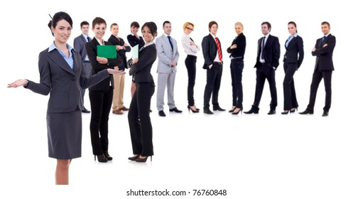 Female leader presenting her successful business team, isolated